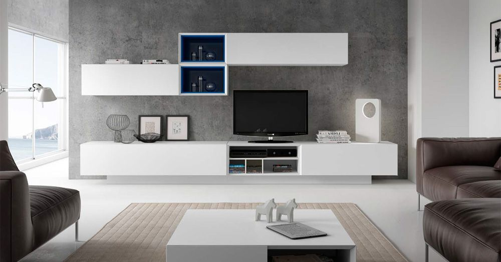 Mueble de sal n moderno blanco composiciones apilables for Muebles modulos salon
