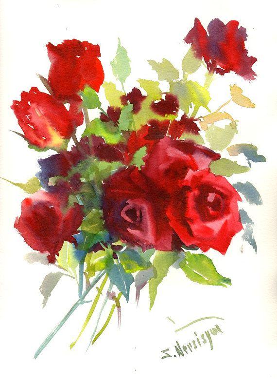 Dark Red Roses Burgundy Color Crimson Original Watercolor