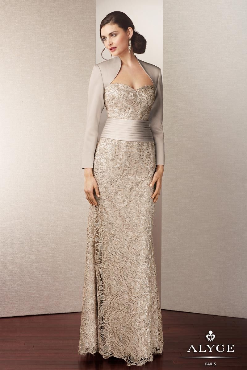 Elegant Satin and Lace Evening Gown with Long Sleeve Jacket
