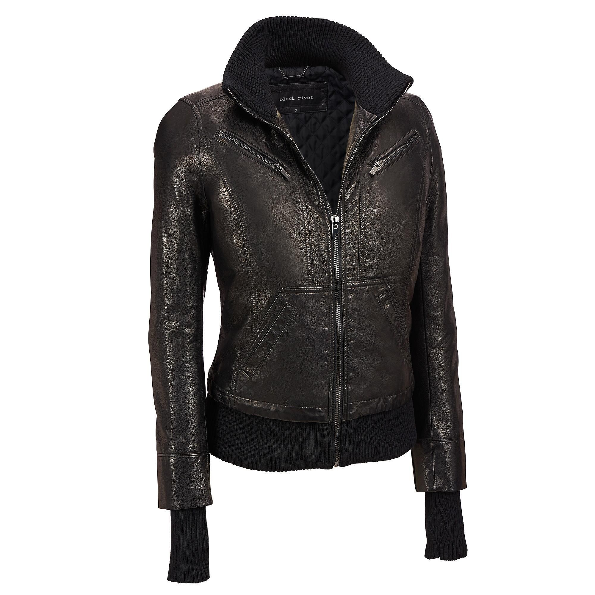 Black Rivet Knit Collar Faux Leather Bomber W Storm Cuffs Bomb Leather Jackets Women Faux Leather Bomber Leather [ 2000 x 2000 Pixel ]