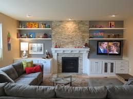 Living Room Storage Cabinets Beside Fireplace