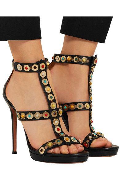 30e84e904d1 Aquazzura - Byzantine Embellished Leather Sandals - Black