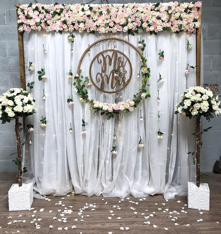 backdrop curtains light flower wedding
