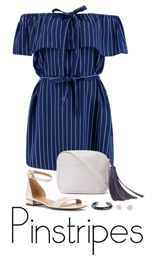 """""""Perfect Pinstripes"""" by ice058 ❤ liked on Polyvore featuring Boohoo, Shaffer, MICHAEL Michael Kors and Aurélie Bidermann"""