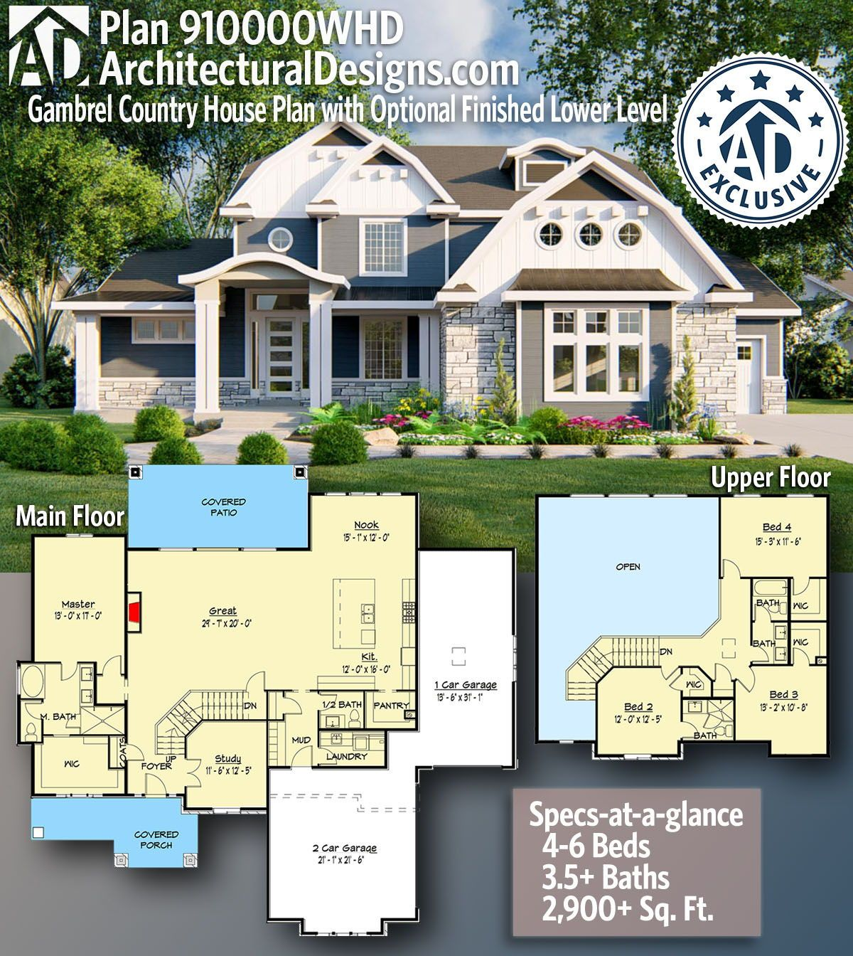 Plan 910000whd Gambrel Country House Plan With Optional Finished Lower Level In 2021 House Plans Country House Plan Exclusive House Plan