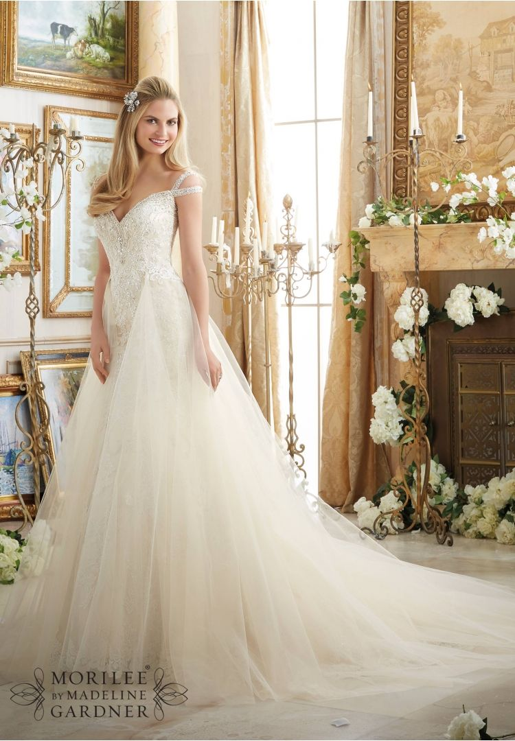 Wedding Dresses And Gowns By Morilee Featuring Embroidered Liques On Soft Net Trimmed With Diamante