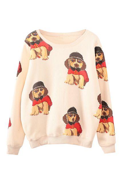 ROMWE | Dog Print Apricot Sweatshirt
