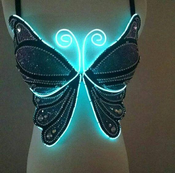 EL Wire Butterfly Bra Size 32C/34B push up | Butterfly bra, Pastel ...