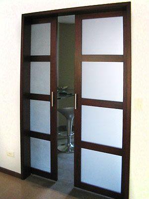 Puerta corrediza vidrio y madera buscar con google - Como poner puerta corredera ...