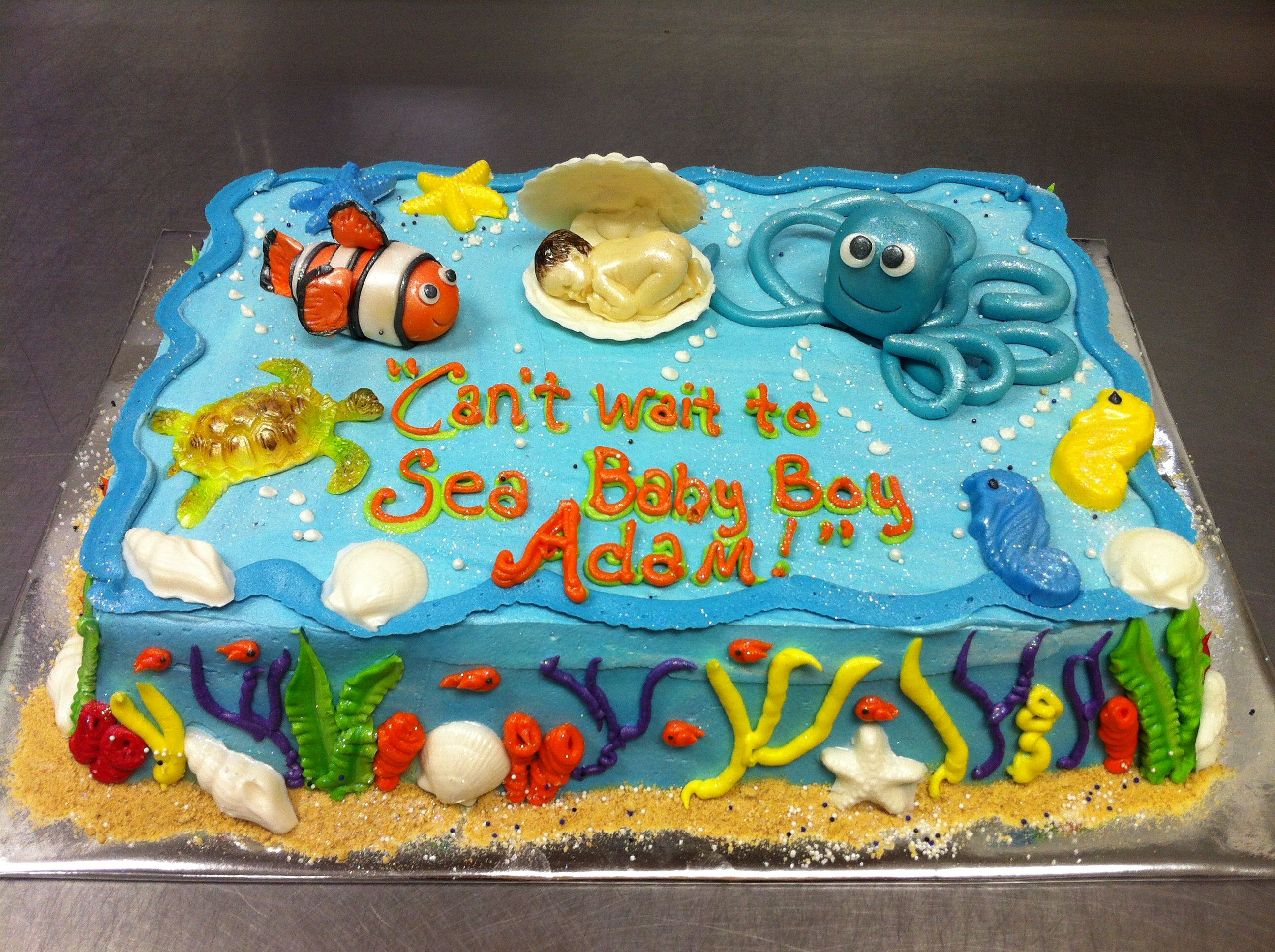 Under The Sea Themed Baby Shower Cake.