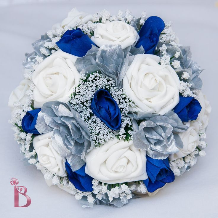 Blue And Silver Wedding Flowersroyal Blue And Silver Wedding Bridal Bouquet  With White Soft Touch Ro