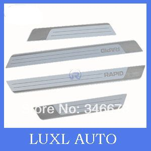 High Quality For Skoda Rapid 2013 2014 2015 Stainless Steel Welcome Pedal Scuff Platesill Feel Slim Car Accessories C Acessorios Para Carros Aco Inoxidavel Aco