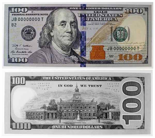 100 Us Dollar Bill Front And Back