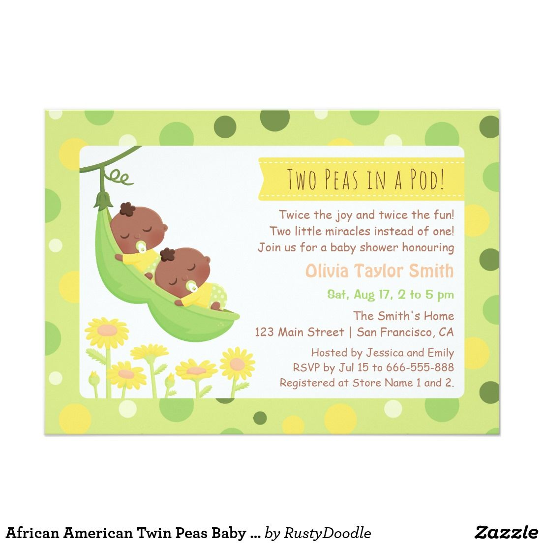 African American Twin Peas Baby Shower Invitations | Baby invitations