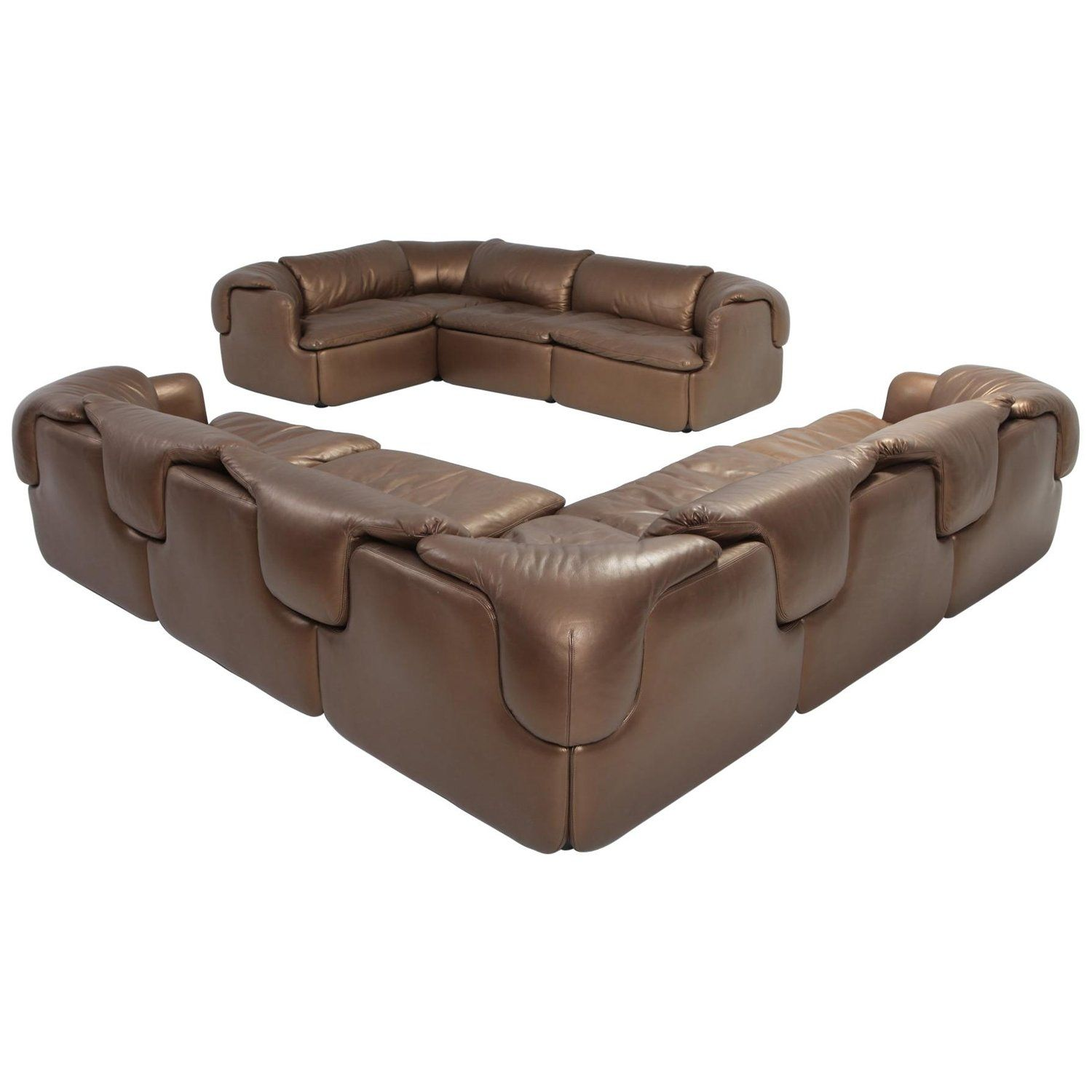 Bronze Leather Saporiti High End Sectional Sofa Confidential
