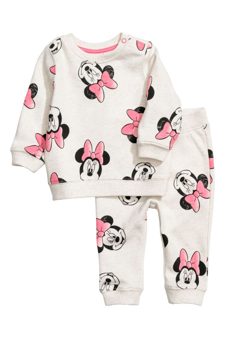 442292a579795 Baby Girl Clothes - Shop for your baby online. Sweatshirt and Joggers -  Light beige/Minnie Mouse - Kids | H&M US 1