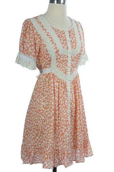A peach dress.