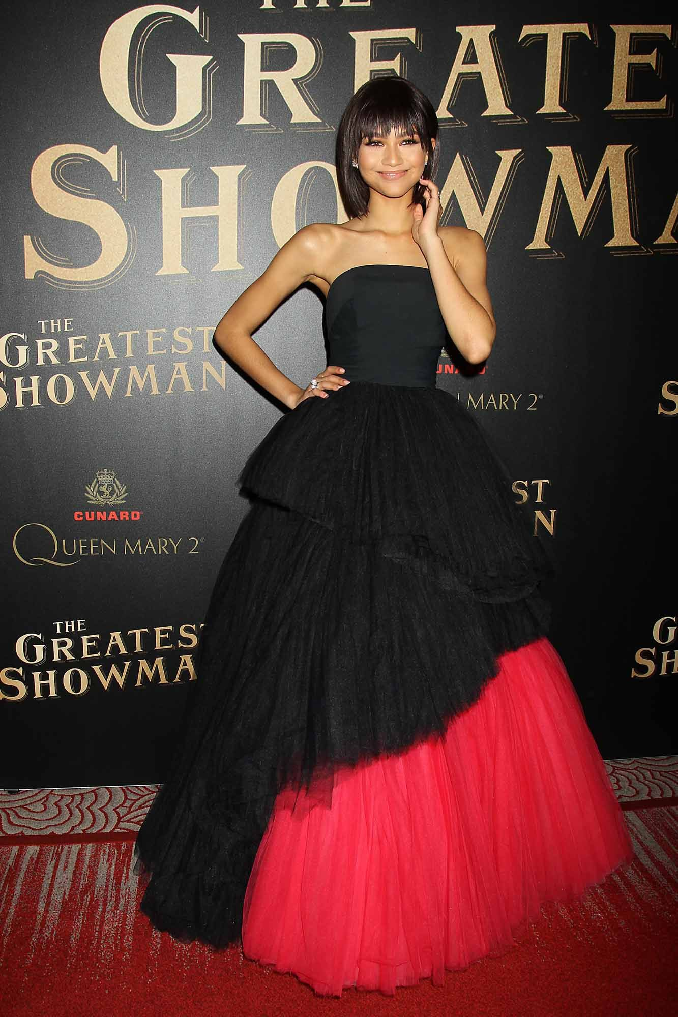 Zendaya Puffy Sleeves Red Dress