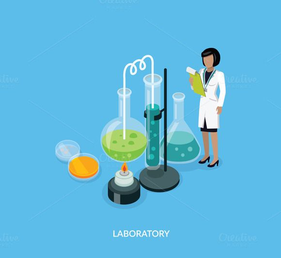 Science Lab Isomatric Design Flat by robuart on @creativemarket