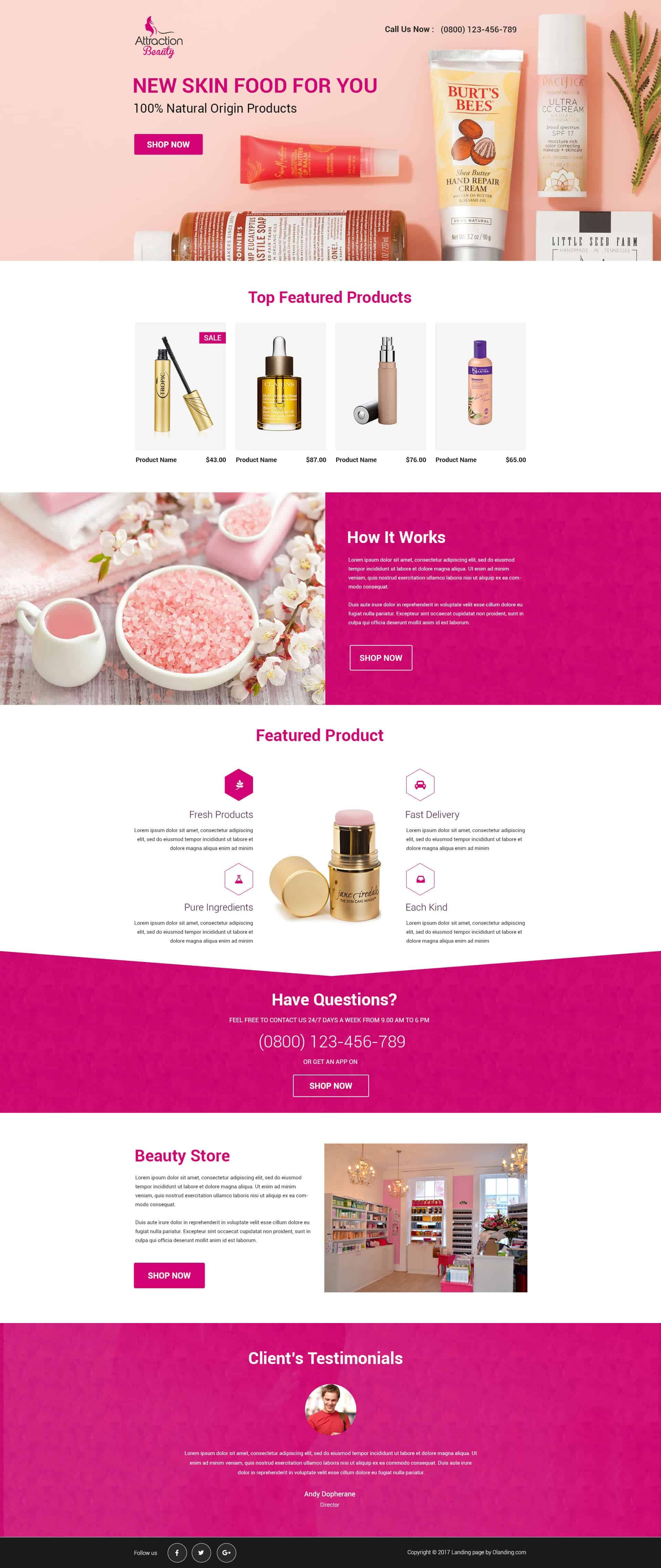 Beauty Products Landing Page Template Landing Page Design Landing Page Design Templates Product Landing Page Design