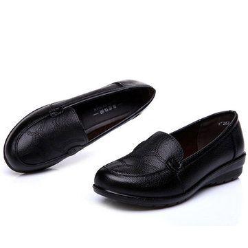 Blandos Zapatos Antideslizantes Negro De Cuero Planos Tw6qxwCH