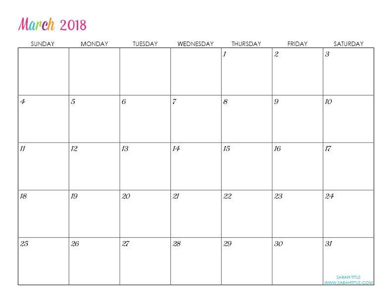 Custom Editable Free Printable 2018 Calendars Planners Calendar