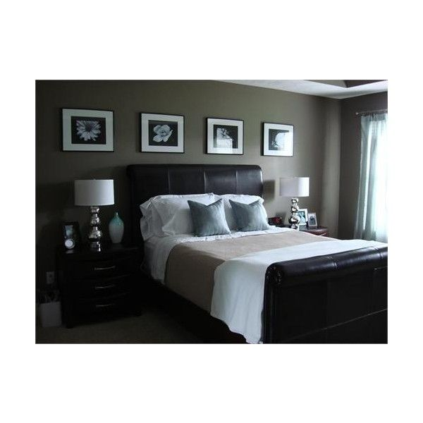 dark bedroom, blue, gray, brown found on Polyvore Decorating Ideas