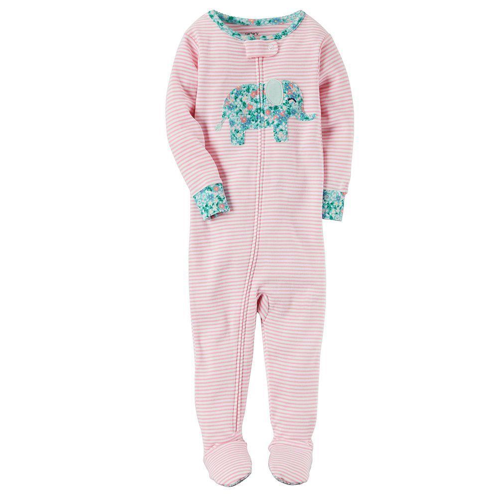 c0cfaa5cba49 Toddler Girl Carter s Applique Floral Footed Pajamas