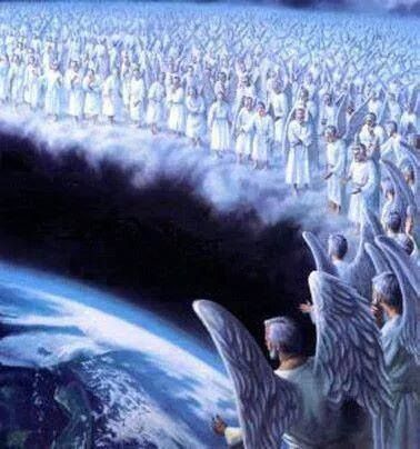 The host of Heaven looking down upon Earth as they destroy themselves and God pours down the judgments. It's coming real soon, much sooner than we think.