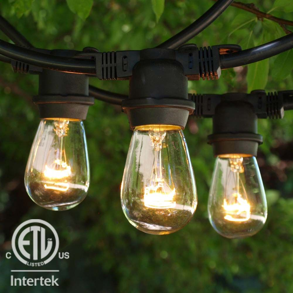 48 ft black commercial medium string light 11s14 clear bulbs 48 black commercial outdoor string light with 11s14 clear bulbs aloadofball Choice Image