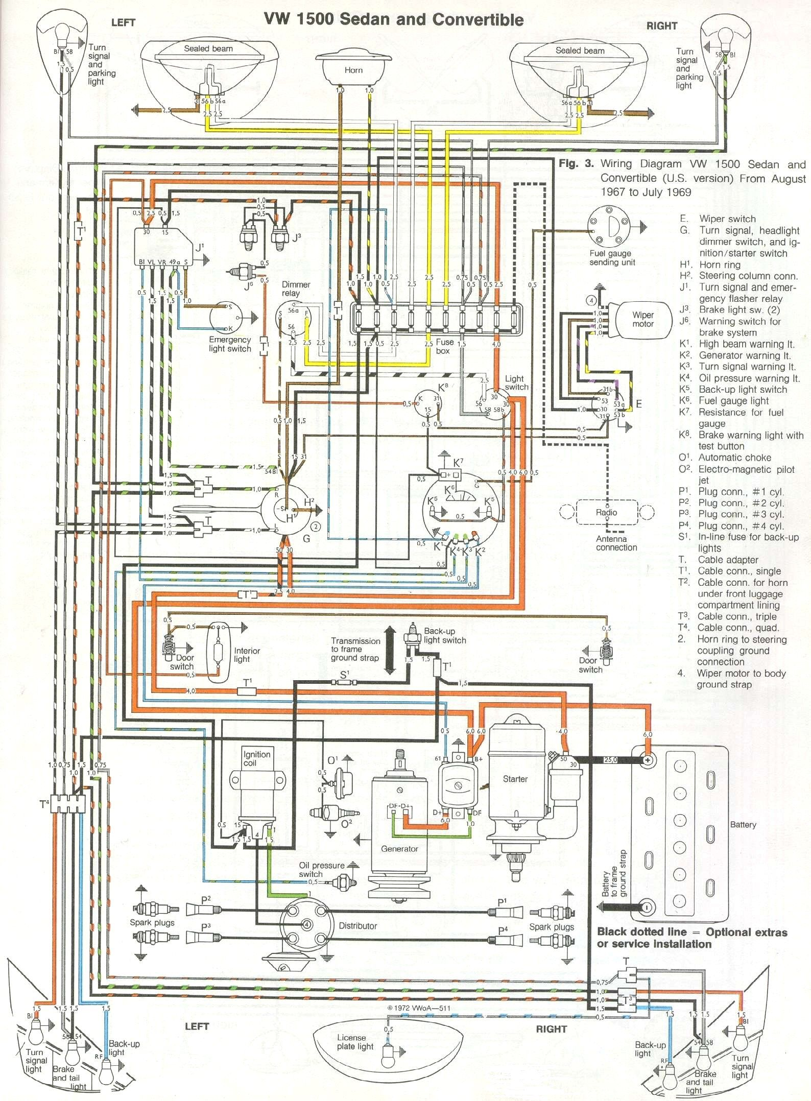 1968 69 beetle wiring diagram (usa) thegoldenbug com engine Volkswagen Beetle Wiring Diagram