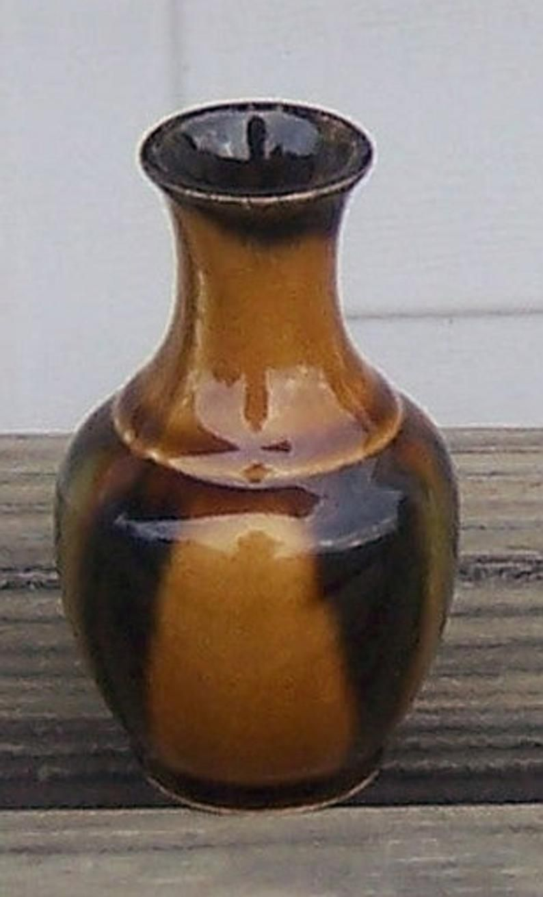 Best Vintage Art Pottery Miniature Vase Brown And Dark Brown 400 x 300