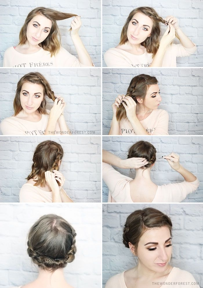 Quick Rolled Braid Updo For Shorter Hair Wonder Forest Braided Updo For Short Hair Short Hair Updo Braided Hairstyles Updo