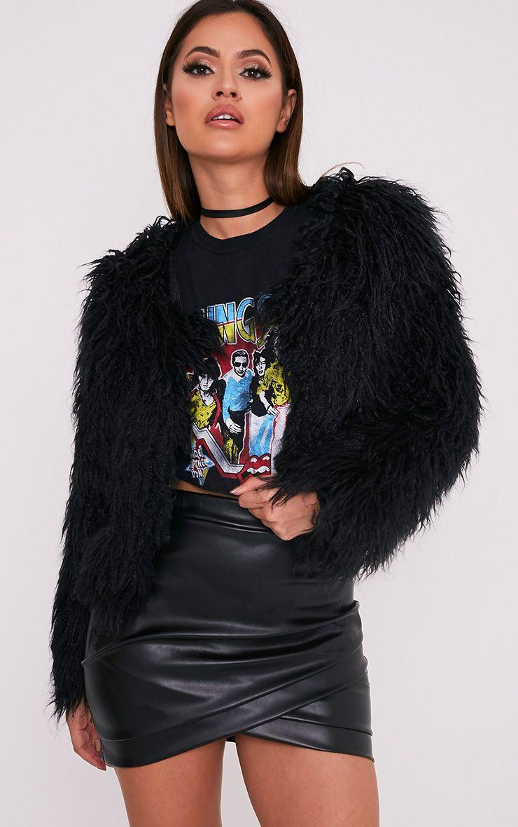 Liddie Black Faux Fur Shaggy Cropped Jacket - Coats & Jackets ...