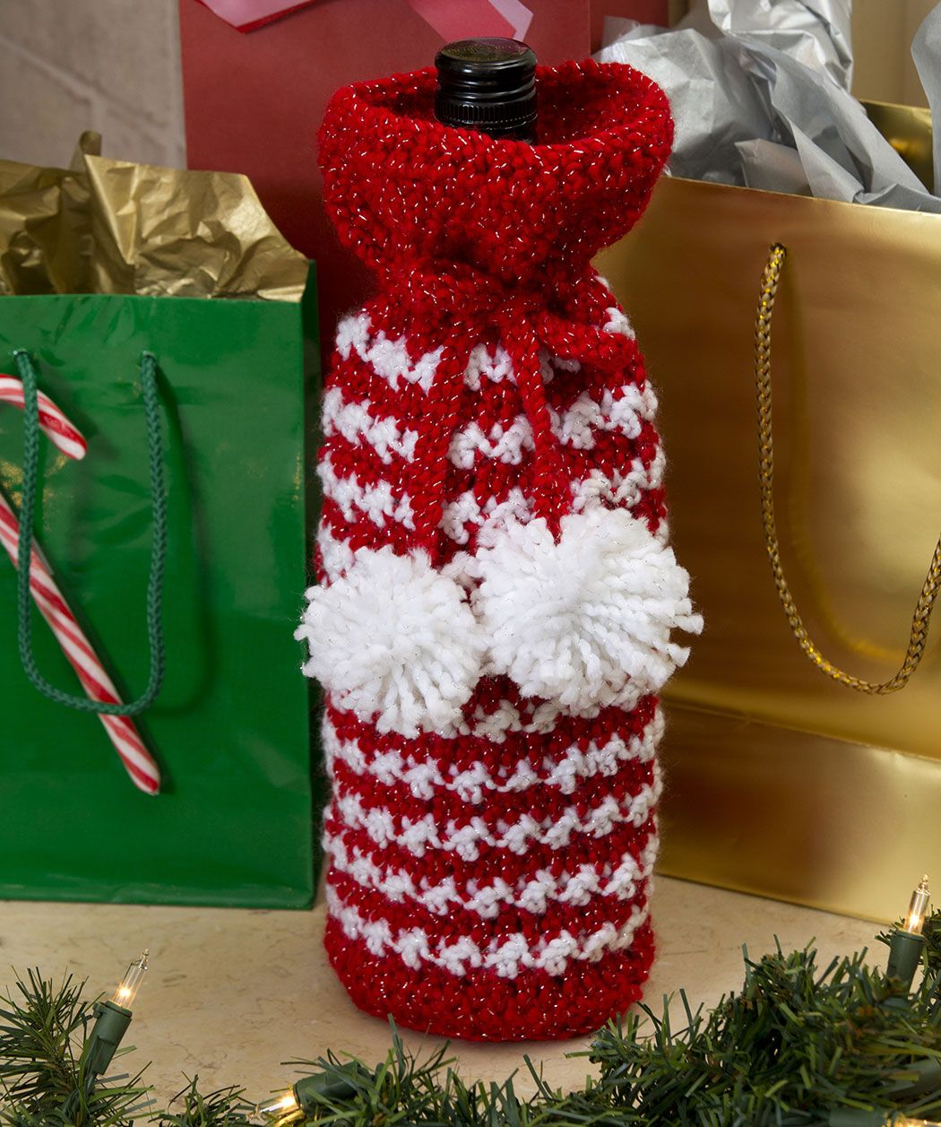 Holiday Spirit Bottle Bag Holiday Crochet Christmas Crochet Patterns Crochet Gifts