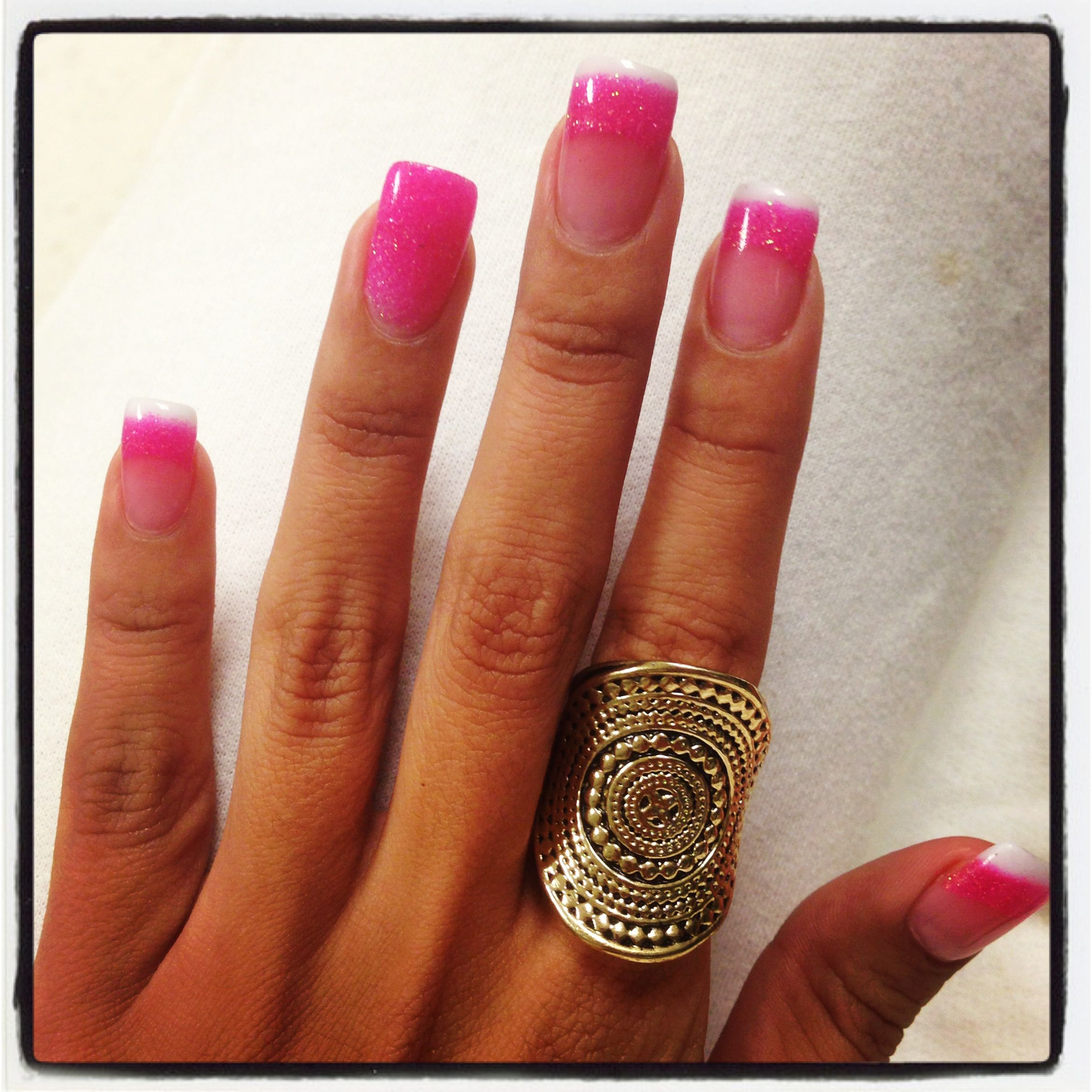 Solar nails fade out! Hot pink!! #nails | Things I\'ve made ...