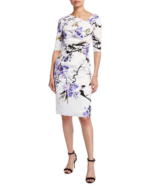 Floral Elbow Sleeve Scuba Sheath Dress Dresses Sheath Dress Elbow Sleeve [ 1500 x 1200 Pixel ]
