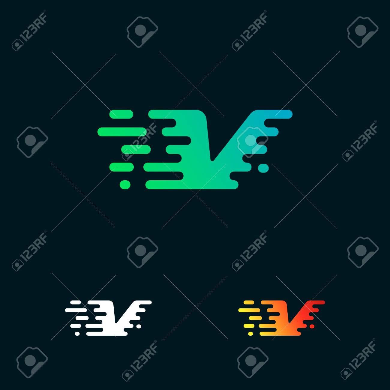 letter V modern speed shapes logo design vector Illustration ,