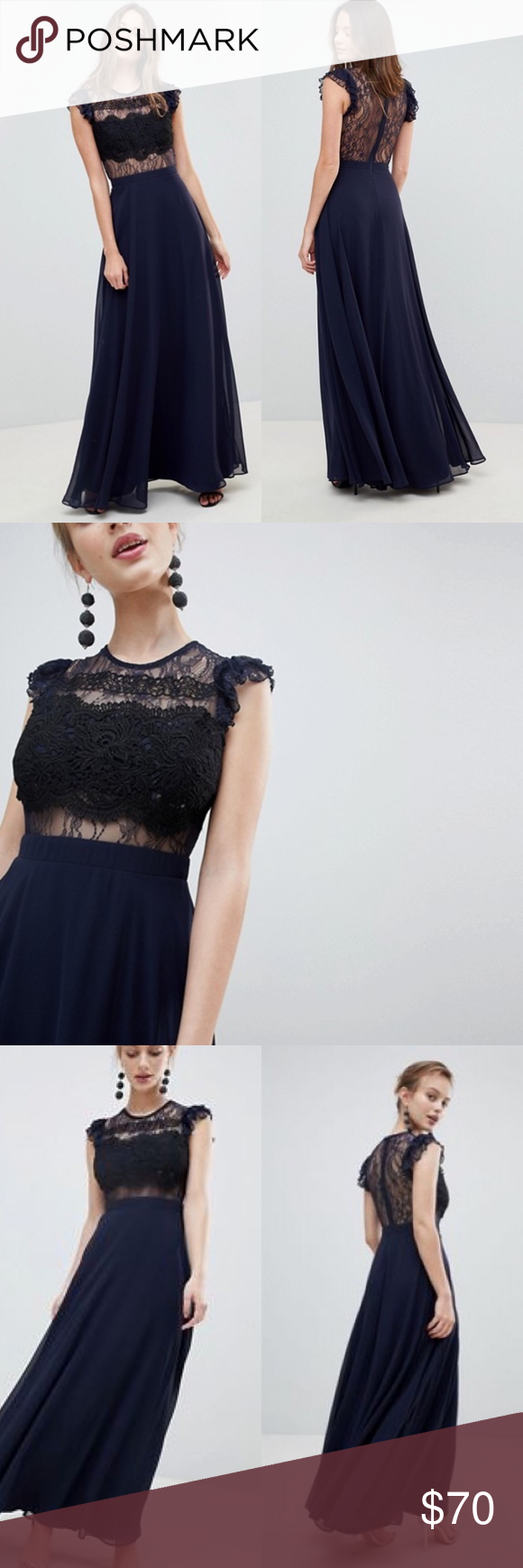 1e880bcce8a ASOS Lace Maxi Dress with Lace Frill Sleeve Flutte Be the best-dressed  guest Round