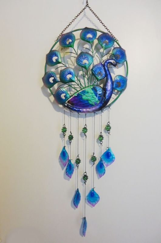 Glass Bell Wind Chimes | Peacock Circle Glass Metal Wall Decor or Wind  Chime Garden Patio