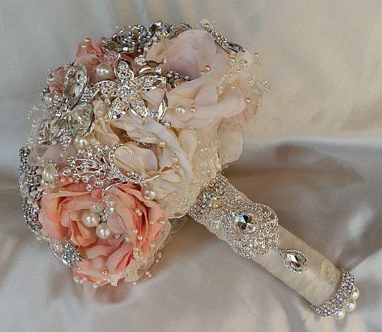 Peach Jewel Embellished Brooch Bouquet