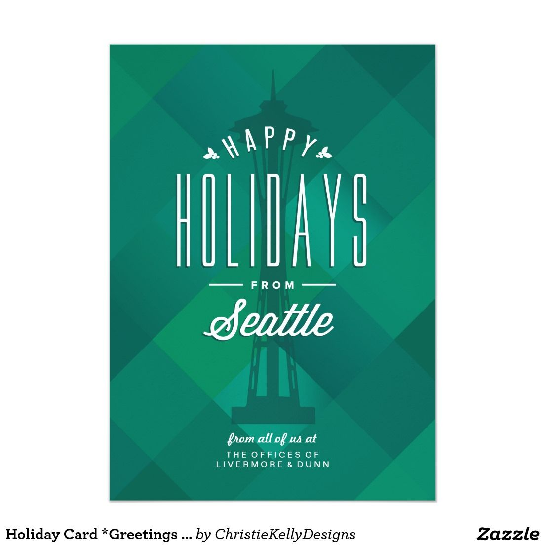 Holiday Card Greetings From Seattle Christmas Photo Cards
