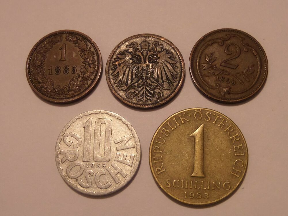 Austria 5 Coin Lot 1885 1k 1893 1899 2h 1955 10g 1963 1