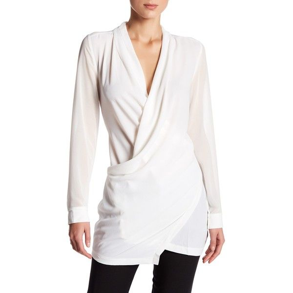 ASTR Long Sleeve Wrap Blouse ($39) ❤ liked on Polyvore featuring ...