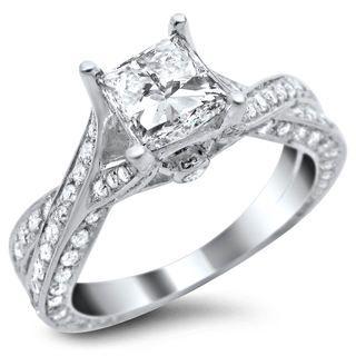 14k white gold 182ct tdw certified round cut pave diamond ring - White Gold Princess Cut Wedding Rings