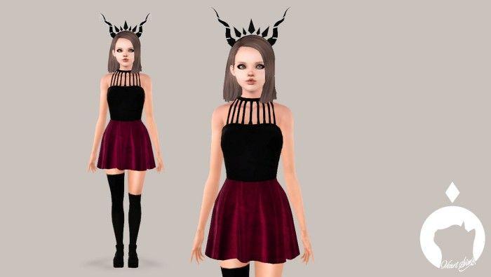 Arabella Top and Velvet Skirt by Ikari - Sims 3 Downloads CC