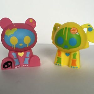 Pair of Skelanimals Figures Yellow Dax and Pink ChungKee Hard Plastic
