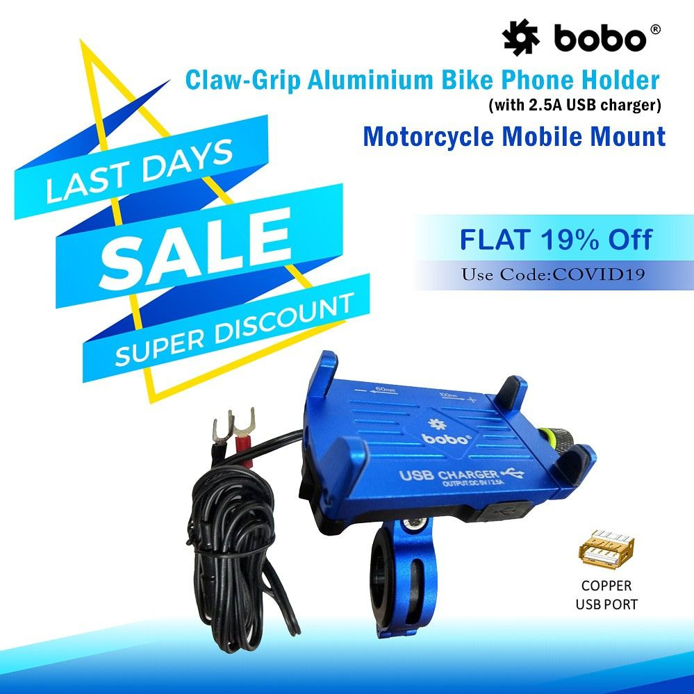 BOBO Claw-Grip Aluminium Waterproof Bike Phone Holder ( with fast USB 3.0  Charger ) ➖➖➖➖➖➖➖➖➖➖➖➖ Key Features ✔️ Claw-Grip security. ✔️ Always connected. ✔️ Always Secured. ✔️ All tolls and spare parts included. ✔️ We provide 1 year  warranty. ✔️ Ideal for Maps and GPS Navigation. ➖➖➖➖➖➖➖➖➖➖➖➖ . . . . . #bikes #bikers #bikerider #riders #superbikes #biking #bikingendut #bikelife #bike #bikecare #bikeaccessories #biker #bikersfamily #bikepacking #bikelovers #loveforbike #tech #biketech #gears #g