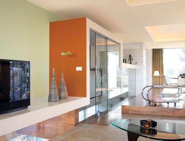 Inspiratie #kleuren - Flexa oranje muur woonkamer. Orange livingroom ...