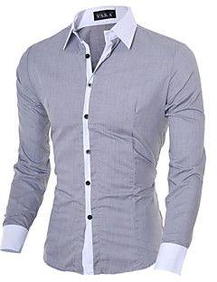98aecf2024d0b Camisa De los hombres Un Color   Retazos Casual   Trabajo   Formal-Algodón    Poliéster-Manga Larga-Negro   Azul   Rosa   Blanco   Gris